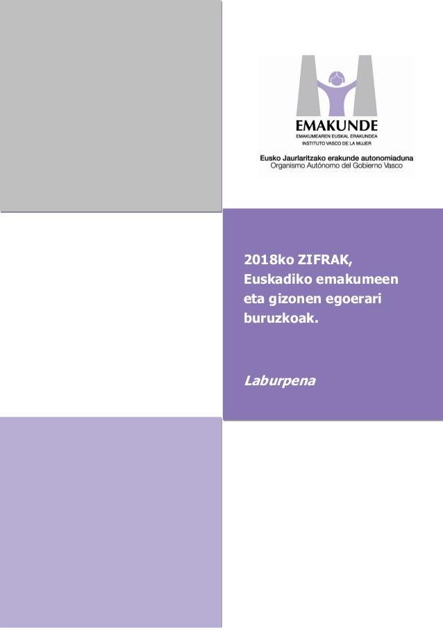 2018ko ZIFRAK, Euskadiko emakumeen eta gizonen egoerari buruzkoak. Laburpena