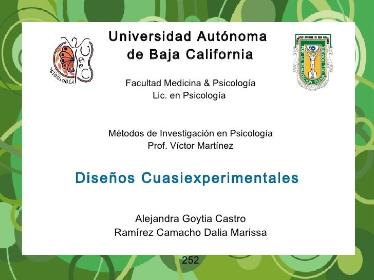 Universidad Autónoma  de Baja California Facultad Medicina & Psicología Lic. en Psicología  Métodos de Investigación en Ps...
