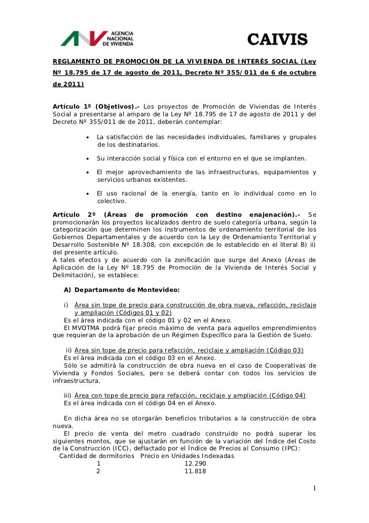 REGLAMENTO DE PROMOCIÓN DE LA VIVIENDA DE INTERÉS SOCIAL (LeyNº 18.795 de 17 de agosto de 2011, Decreto Nº 355/011 de 6 de...