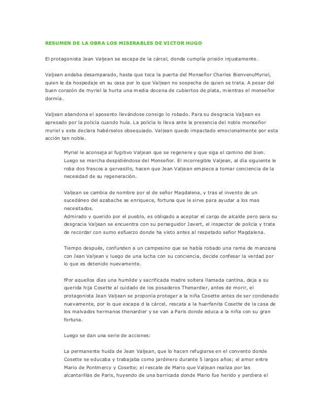 """RESUMEN DE LA OBRA LOS MISERABLES DE VICTOR HUGO- Argumento de la obra """"Los MiserablesEl protagonista Jean Valjean se esca..."""