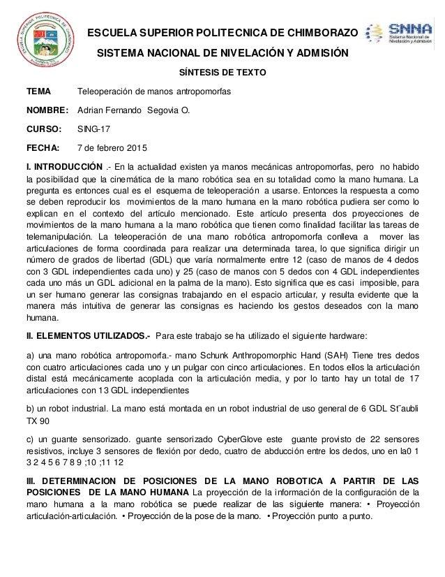 ESCUELA SUPERIOR POLITECNICA DE CHIMBORAZO SISTEMA NACIONAL DE NIVELACIÓN Y ADMISIÓN SÍNTESIS DE TEXTO TEMA Teleoperación ...