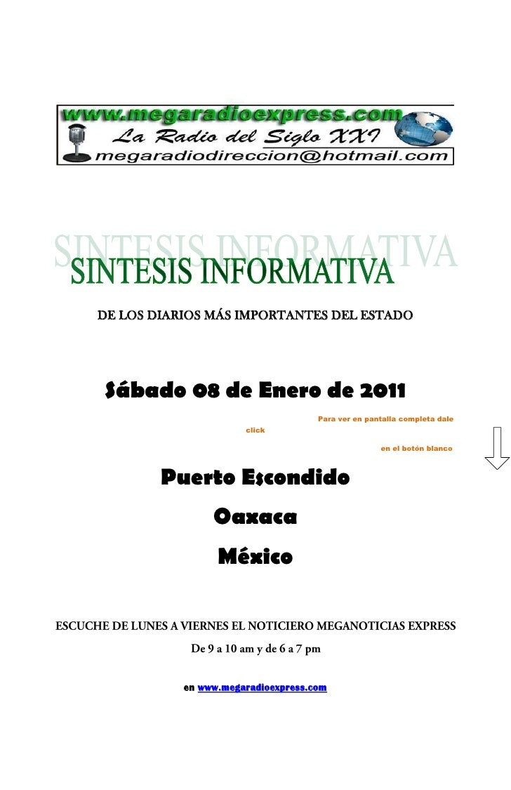 DE LOS DIARIOS MÁS IMPORTANTES DEL ESTADO     Sábado 08 de Enero de 2011                                     Para ver en p...