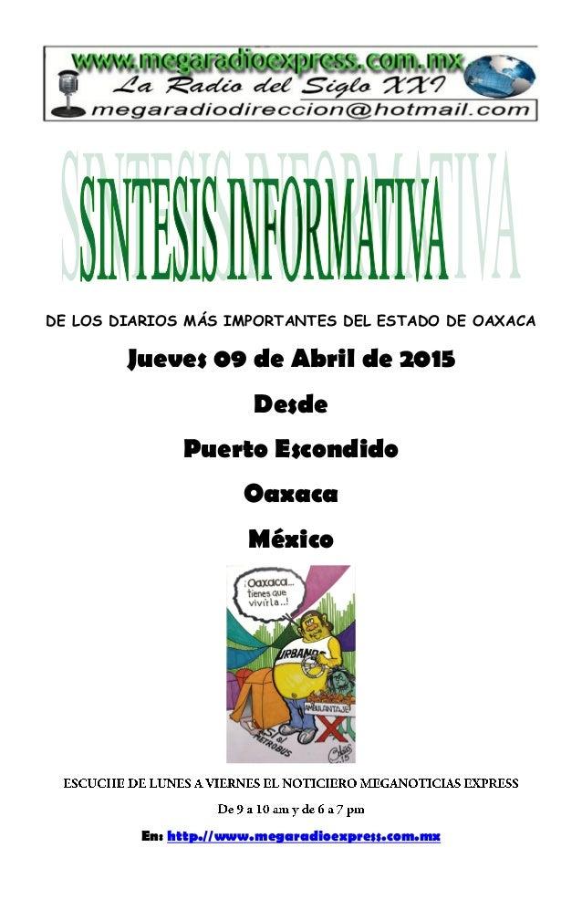 Sintesis Informativa 09 04 2015