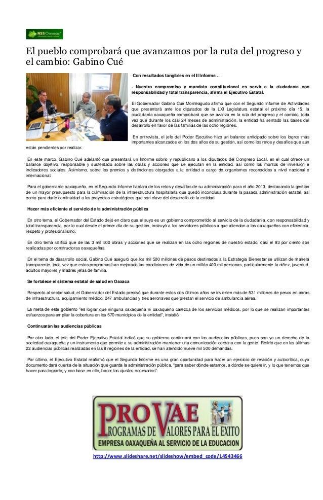 El pueblo comprobará que avanzamos por la ruta del progreso yel cambio: Gabino Cué                                        ...