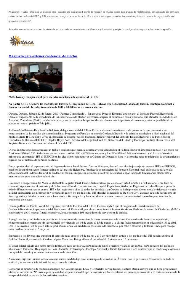 Sintesis Informativa 14 De Enero 2013