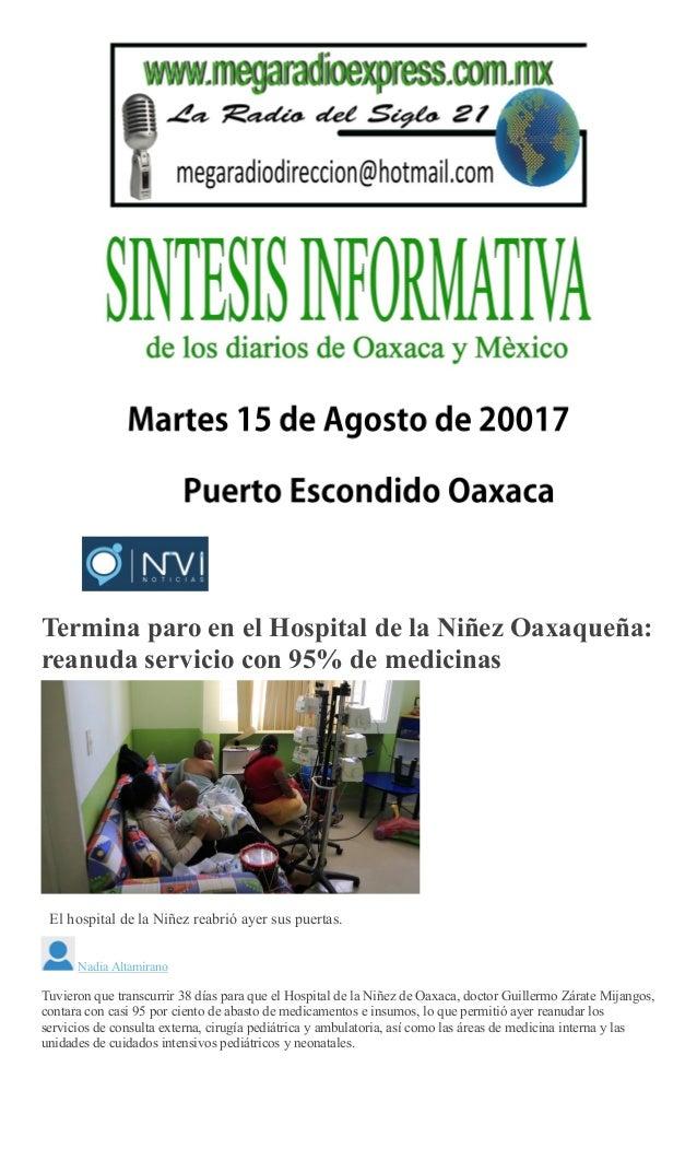 Sintesis informativa 15 de agosto 2017