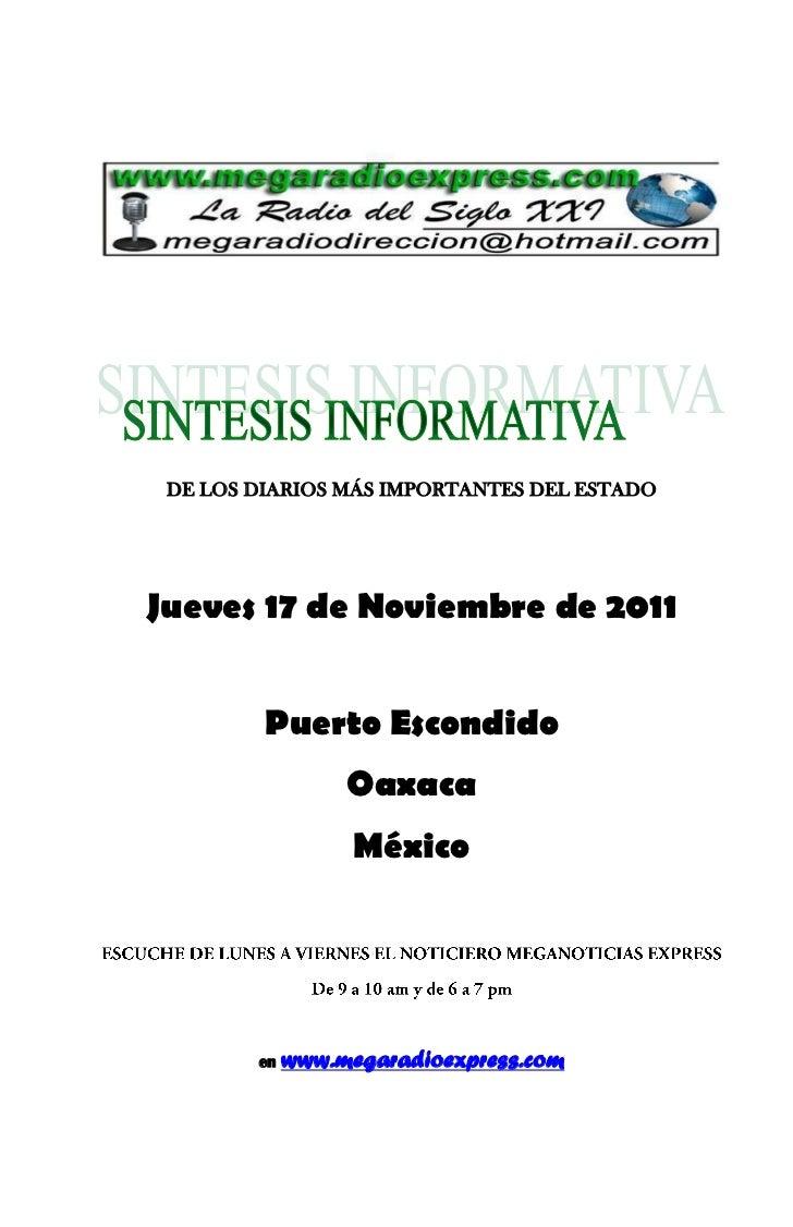 DE LOS DIARIOS MÁS IMPORTANTES DEL ESTADOJueves 17 de Noviembre de 2011         Puerto Escondido                  Oaxaca  ...