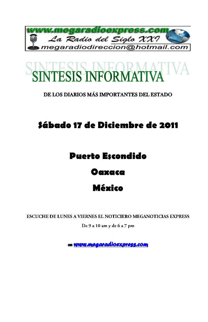 DE LOS DIARIOS MÁS IMPORTANTES DEL ESTADOSábado 17 de Diciembre de 2011         Puerto Escondido                  Oaxaca  ...