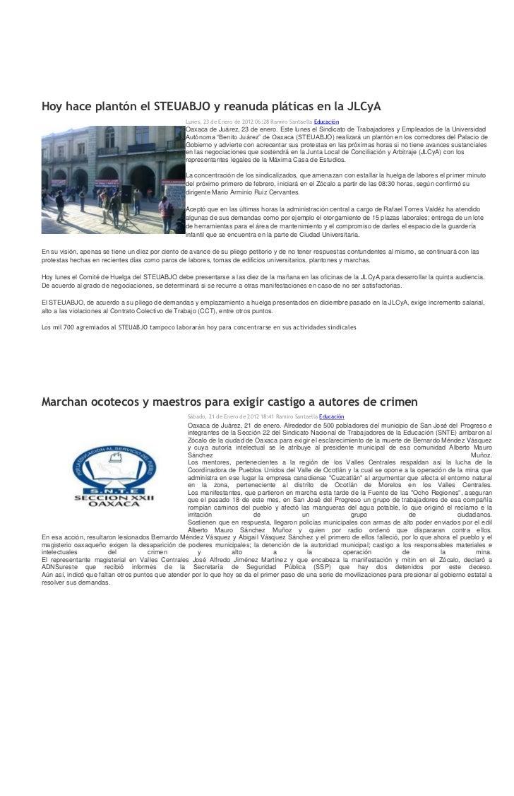 Sintesis informativa 23 01 2012