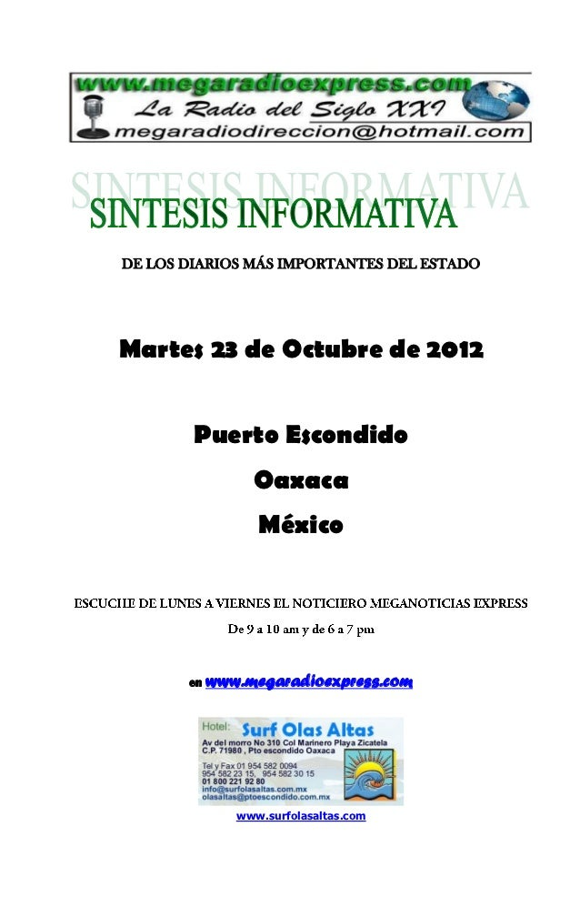 DE LOS DIARIOS MÁS IMPORTANTES DEL ESTADOMartes 23 de Octubre de 2012        Puerto Escondido                 Oaxaca      ...