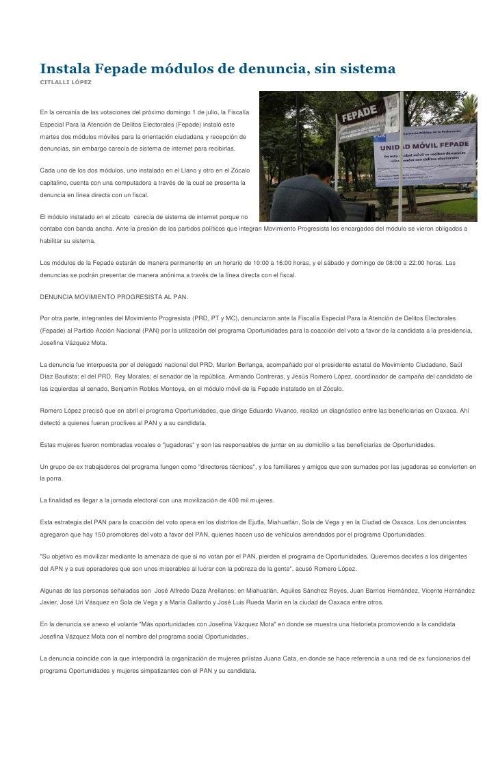 Sintesis Informativa 27 06 2012