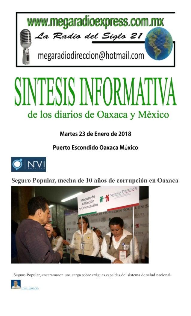 Sintesis Informativa Martes 23 De Enero De 2018