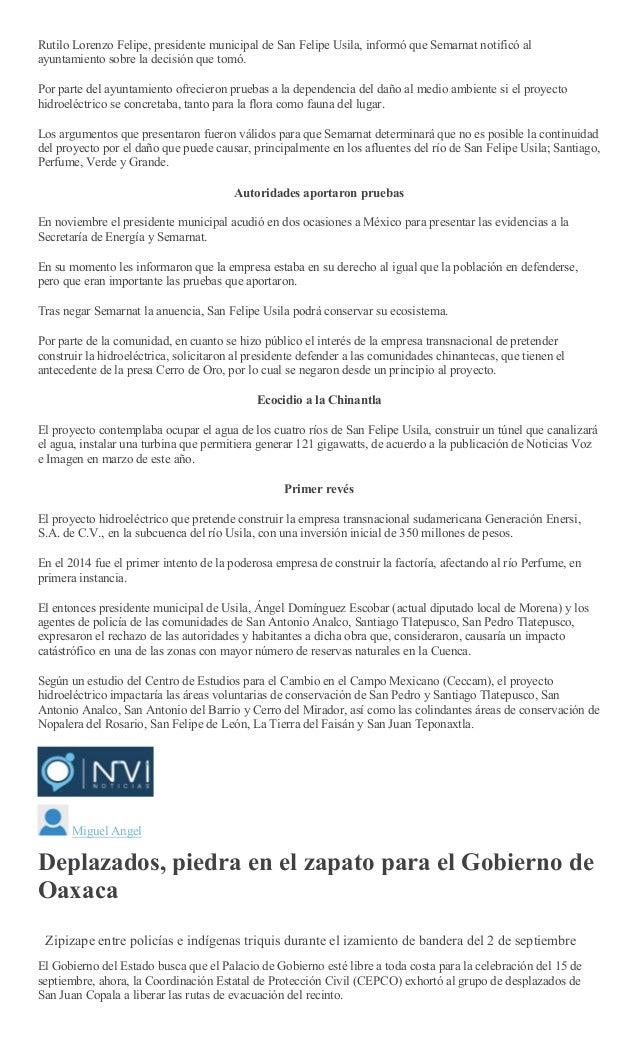 Sintesis informativa sabado 15 de septiembre de 2018