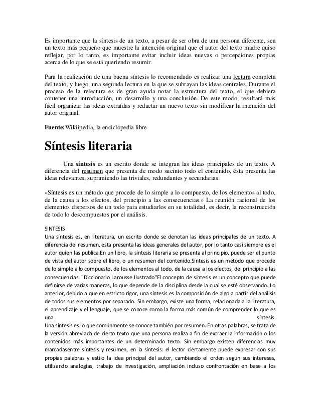 Concepto De Resumen Sintesis Y Conclusion el resumen representacin