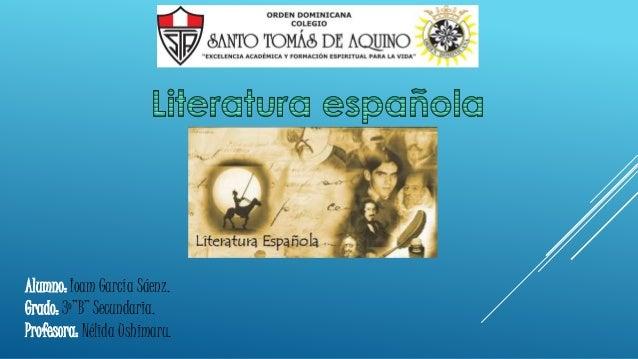 "Alumno: Ioam García Sáenz.  Grado: 3º""B"" Secundaria.  Profesora: Nélida Ushimaru."