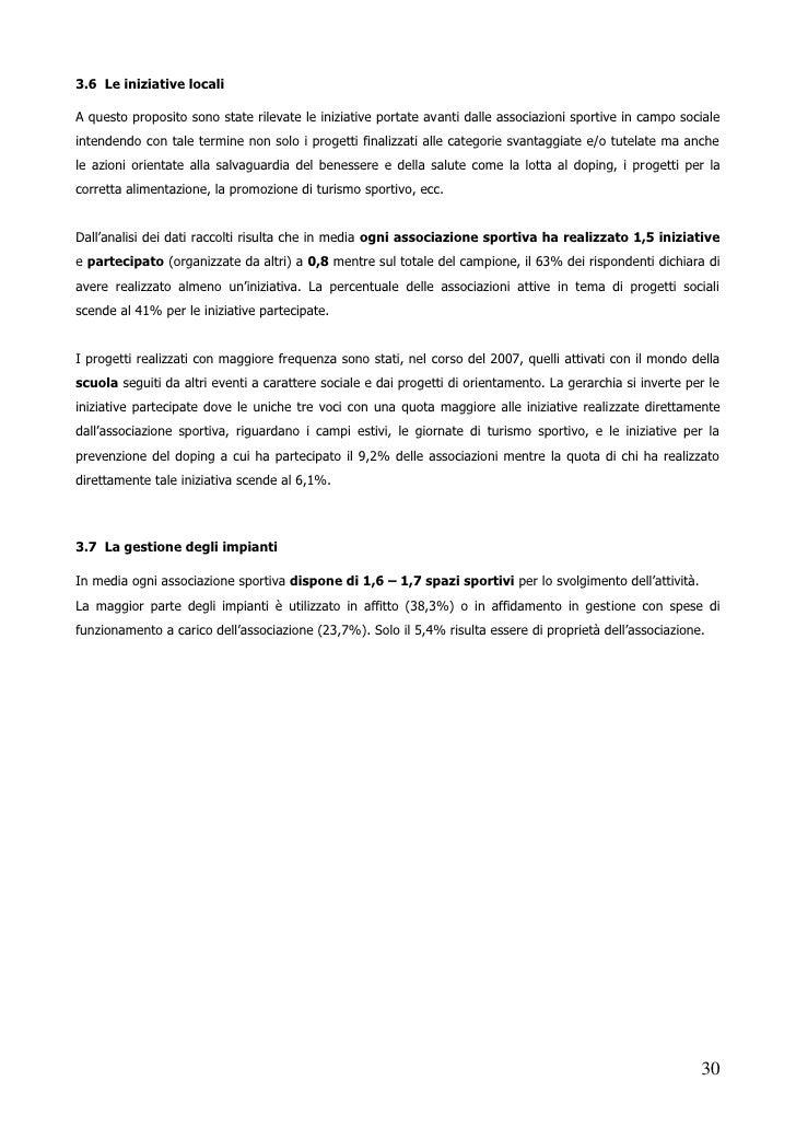Rapporto Sport Societa Sintesi