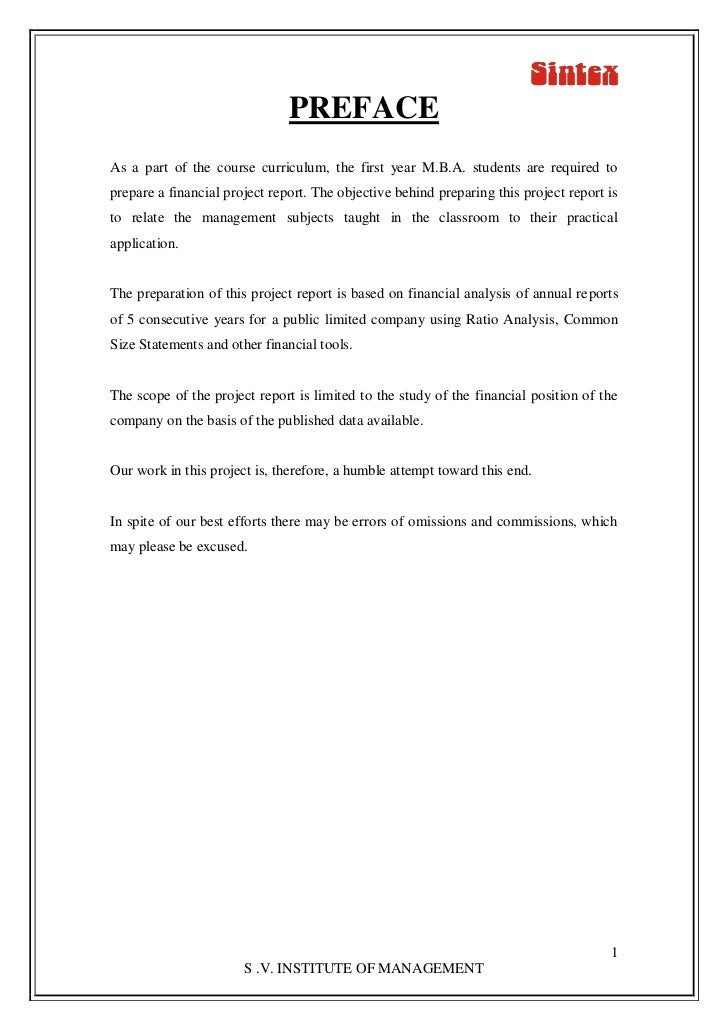 PREFACEAs a part of the course curriculum, the first year M.B.A. students are required toprepare a financial project repor...