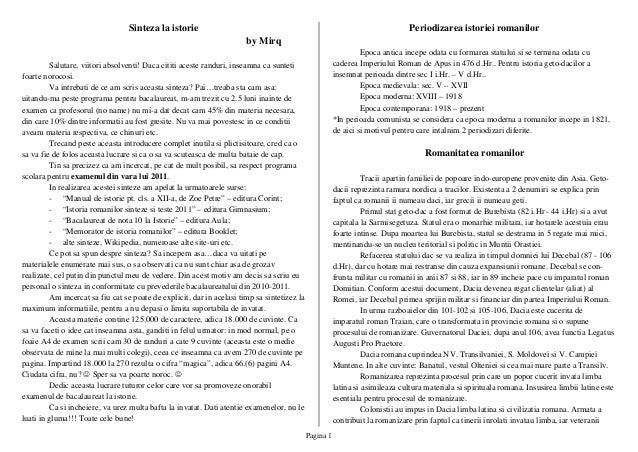 Pagina 1 Sinteza la istorie by Mirq Salutare, viitori absolventi! Daca cititi aceste randuri, inseamna ca sunteti foarte n...
