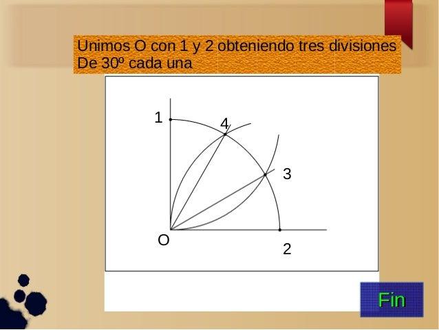 O 1 2 3 4 Unimos O con 1 y 2 obteniendo tres divisiones De 30º cada una FinFin