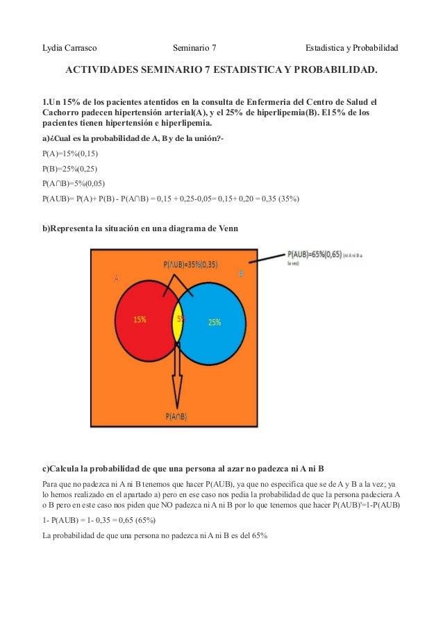 Lydia Carrasco Seminario 7 Estadistica y ProbabilidadACTIVIDADES SEMINARIO 7 ESTADISTICA Y PROBABILIDAD.1.Un 15% de los pa...