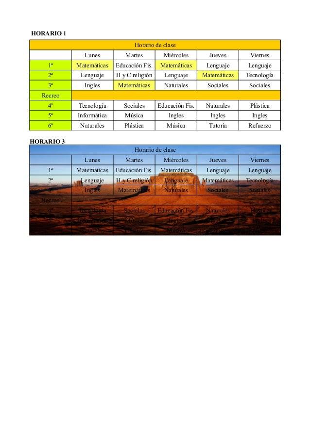 HORARIO 1  Horario de clase  Lunes Martes Miércoles Jueves Viernes  1ª Matemáticas Educación Fis. Matemáticas Lenguaje Len...