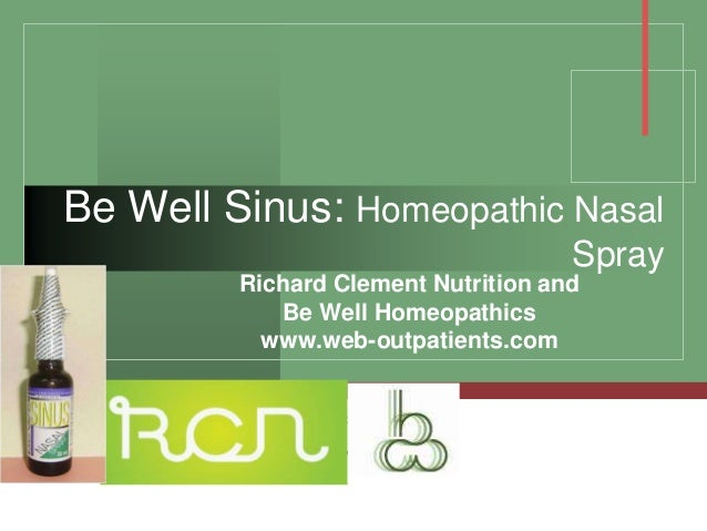 Be Well Sinus: Homeopathic Nasal                                     Spray         Richard Clement Nutrition and          ...