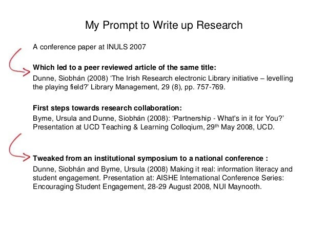 My Prompt to Write up Research  A conference paper at INULS 2007  Which led to a peer reviewed article of the same title: ...
