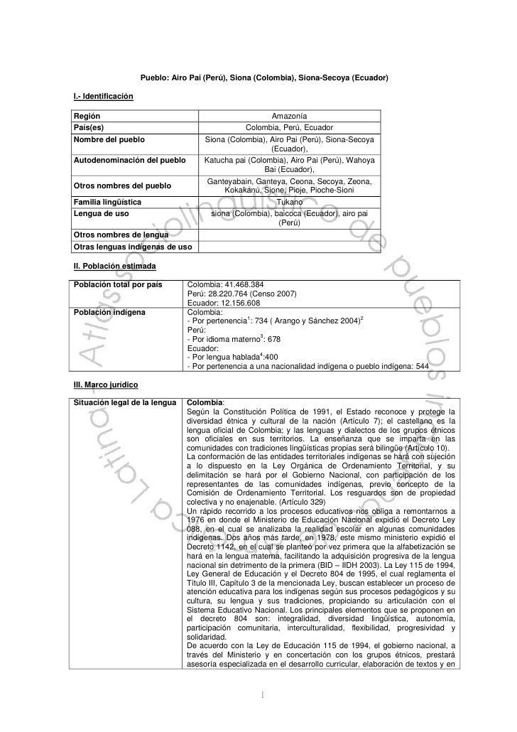 Pueblo: Airo Pai (Perú), Siona (Colombia), Siona-Secoya (Ecuador)I.- IdentificaciónRegión                                 ...