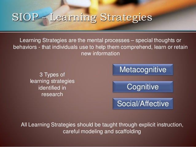 Siop Feature 13 Learning Strategies