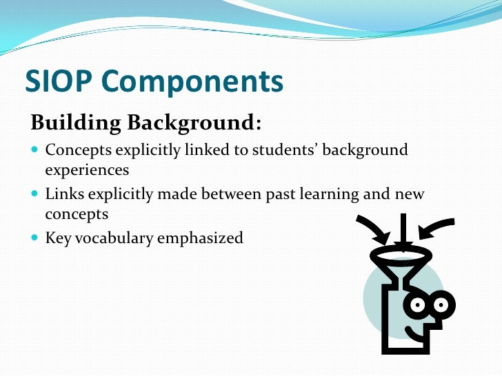 SIOP ComponentsComprehensible Input: Speech appropriate for students' proficiency level Clear explanation of academic ta...