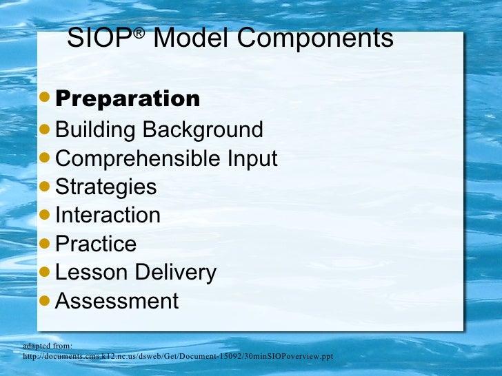 SIOP ®  Model Components <ul><li>Preparation </li></ul><ul><li>Building Background </li></ul><ul><li>Comprehensible Input ...