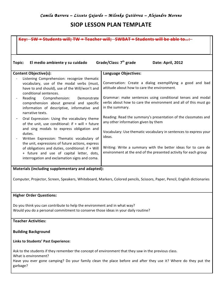 Siop unit lesson plan template sei model for Lesson preparation template