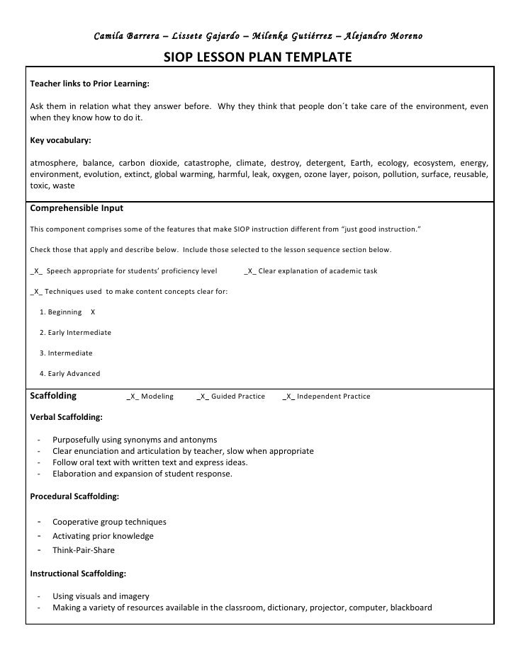 esl lesson plans using siop model Making content comprehensible for english learners: the siop model (4th the component features of using includes sample siop lesson plans and.