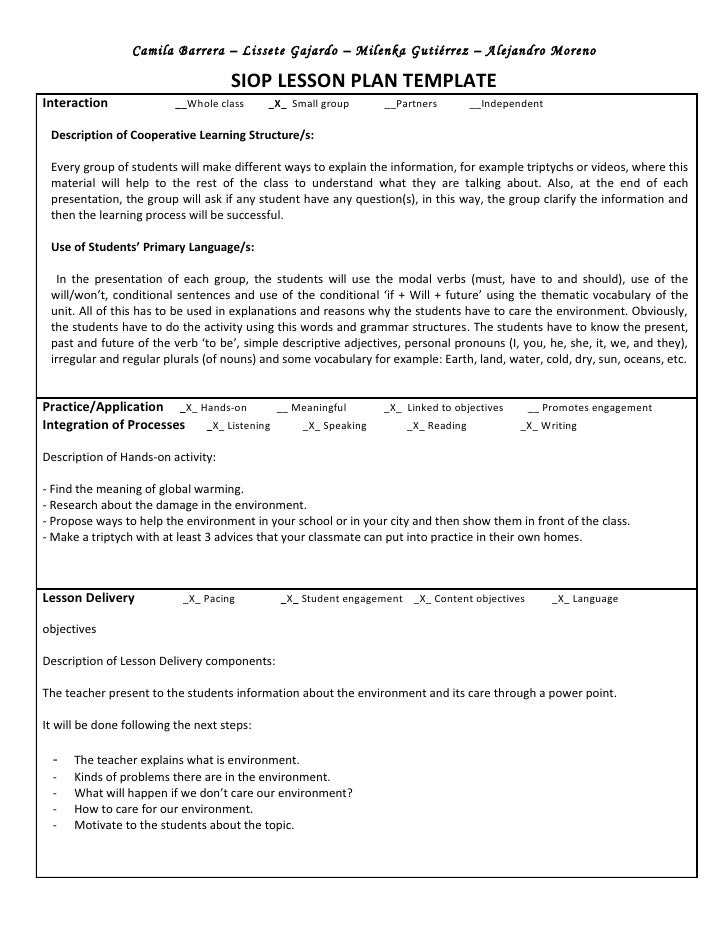 Siop unit lesson plan template sei model
