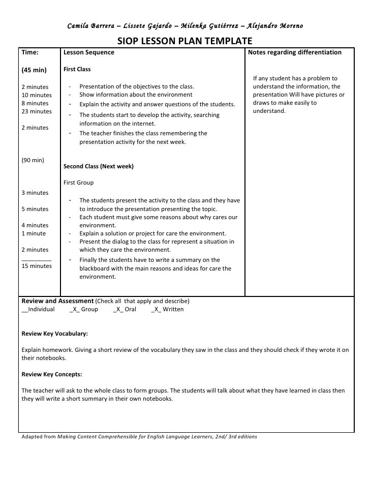 Siop Unit Lesson Plan Template Sei Model - Word document lesson plan template
