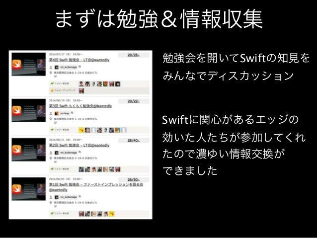 まずは勉強&情報収集  勉強会を開いてSwiftの知見を  みんなでディスカッション  Swiftに関心があるエッジの  効いた人たちが参加してくれ  たので濃ゆい情報交換が  できました