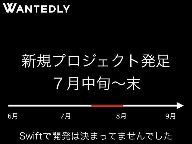 新規プロジェクト発足  7月中旬~末  6月7月8月9月  Swiftで開発は決まってませんでした