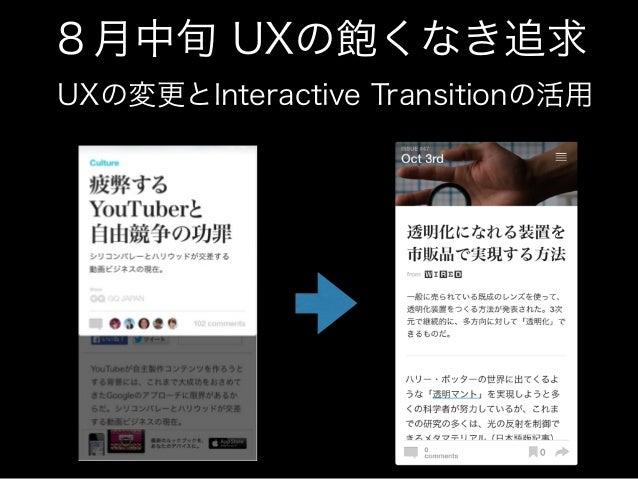 8月中旬 UXの飽くなき追求  UXの変更とInteractive Transitionの活用