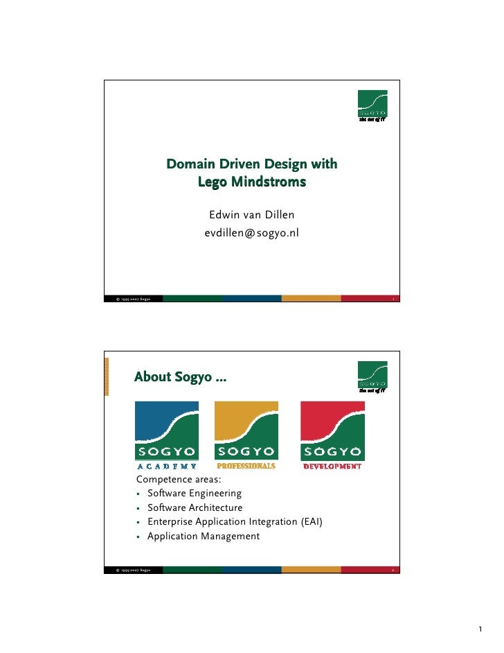 Domain Driven Design with                        Lego Mindstroms                            Edwin van Dillen              ...