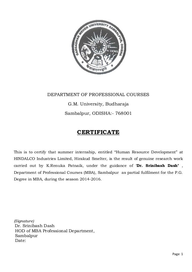 Page 1 DEPARTMENT OF PROFESSIONAL COURSES G.M. University, Budharaja Sambalpur, ODISHA:- 768001 CERTIFICATE This is to cer...