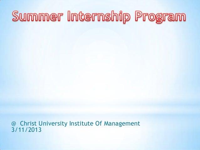 @ Christ University Institute Of Management3/11/2013