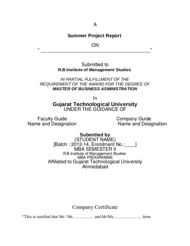 "A Summer Project Report ON "" _________________________________________"" Submitted to R.B.Institute of Management Studies I..."
