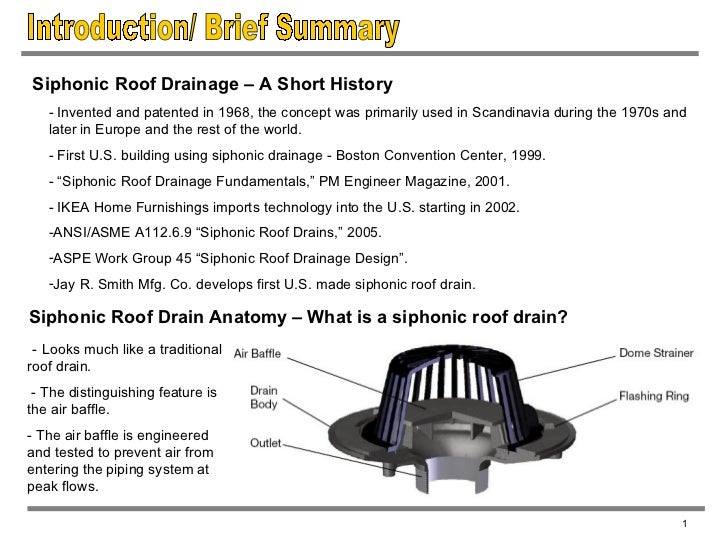 ... 3. Introduction/ Brief Summary 1 Siphonic Roof Drainage ...