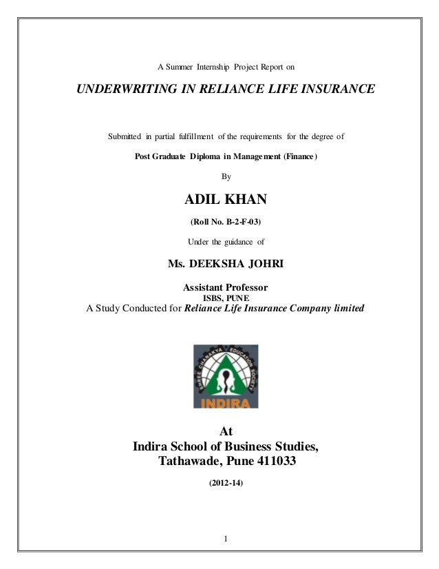 sip on underwriting process in reliance life insurance by
