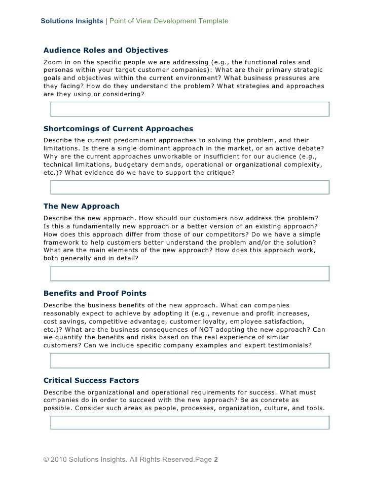 solution approach document template - point of view development template