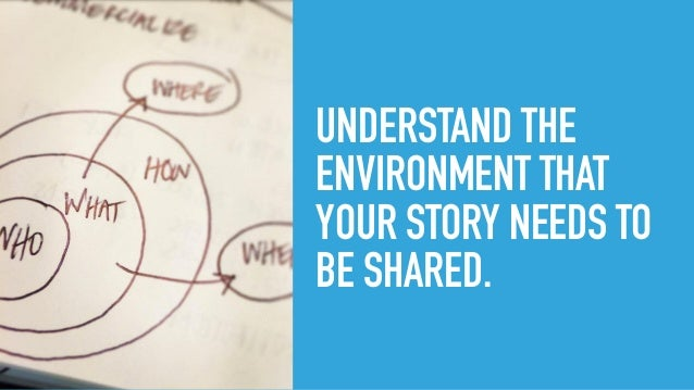 UNDERSTAND THE ENVIRONMENT THAT YOUR STORY NEEDS TO BE SHARED.