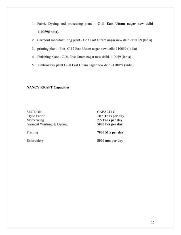 1. Fabric Dyeing and processing plant – C-11 East Uttam nagar new delhi- 110059(India). 2. Garment manufacturing plant - C...
