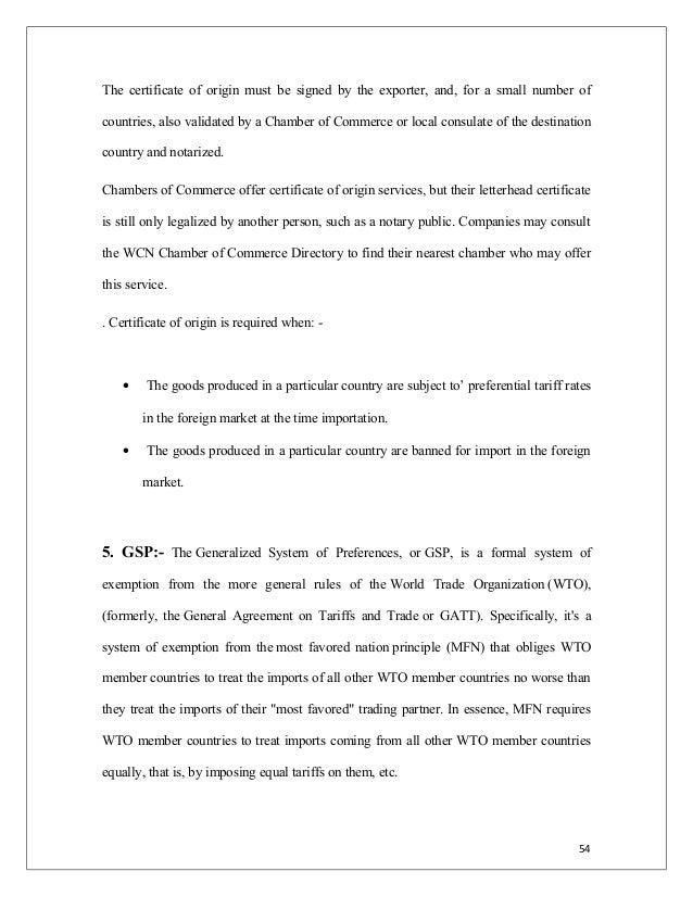 EXPORT PROCEDURE DOCUMENTATION – Example Certificate of Origin