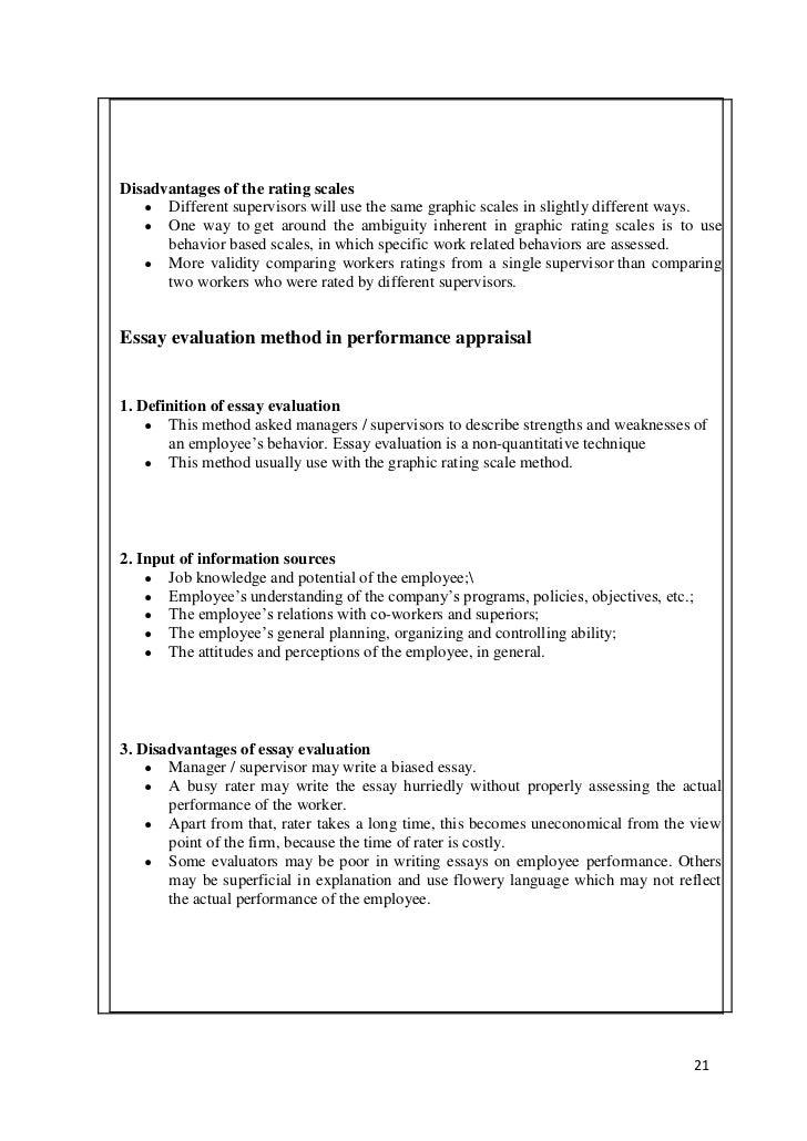Evaluation Methods - Essay Example