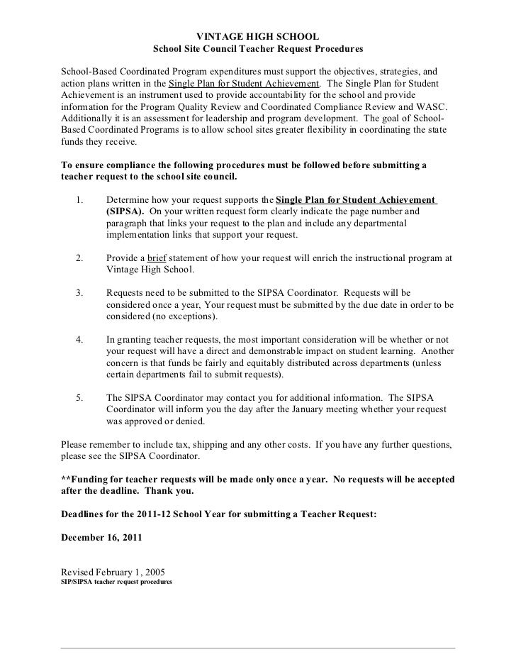 Sipsa teacher request procedures 1